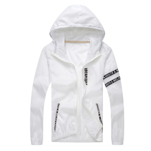 Sun protection jacket summer mens fashion letter print hooded sun skin clothing couple