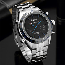 6.11 Mens 2019 New Fashion 3D Dial Stainless Steel Blue Light LED Sport Watch Me