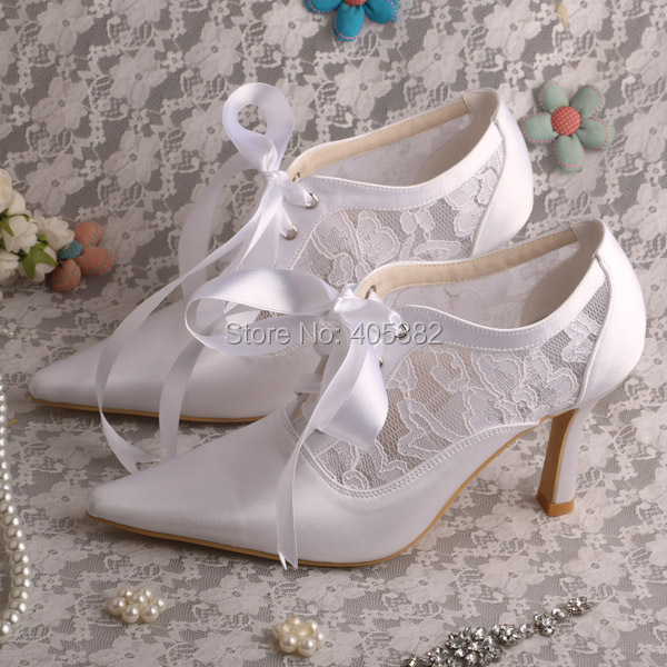 Wedopus MW869 Custom Handmade Off White Lace Heel Wedding Shoes Bride  Closed Toe 8CM-in Women s Pumps from Shoes on Aliexpress.com  0a387d425e41
