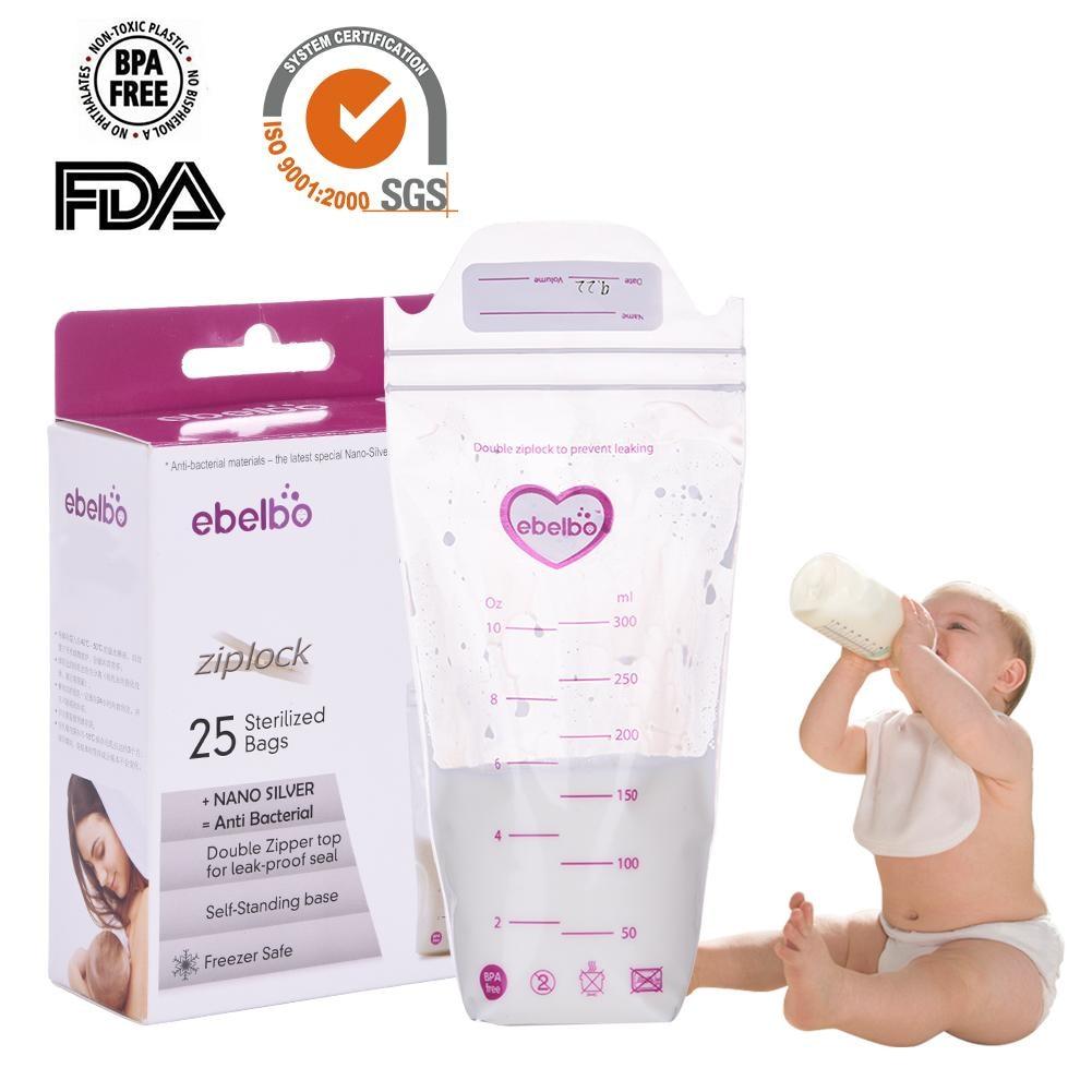 25 PCS Breast Milk Storage Bags aby Food Storage 300ml Fresh Saver Milk Storage Packs milk Freezer Bags Baby feeding