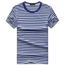 Blue and white Striped Mens T-shirt Short Sleeve 2018 Korean style Summer Vintage Navy T-shirts Tshirt Cotton Tee Shirts S-5XL(China)