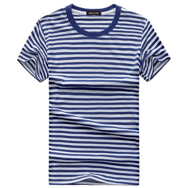 9307dd9316e3 Blue and white Striped Mens T shirt Short Sleeve 2018 Korean style Summer  Vintage Navy T shirts Tshirt Cotton Tee Shirts S 5XL-in T-Shirts from Men's  ...