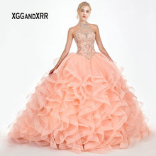 d60e62f335 Luxury Quinceanera Dresses 2019 Halter Off Shoulder Beading Crystal Ball  Gown vestidos robe de bal Sweet