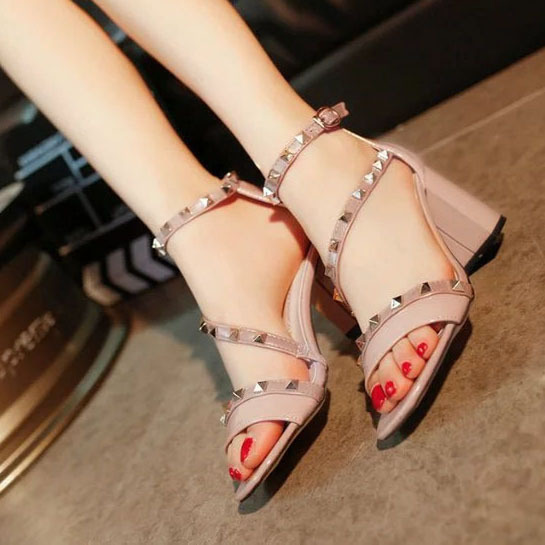 2016 women pumps fashion new design rivets women sandals comfortable square heels quality high heels summer autumn heels ALF204