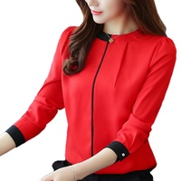 2017 Womens Red Blouses Fashion Autumn Winter Chiffon Shirts OL Long Sleeve Female Blusas Office Ladies