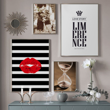 Red Lips Hourglass Baby Boy Girl Quotes Wall Art Canvas Painting Nordic Posters And Prints Pictures For Living Room Decor