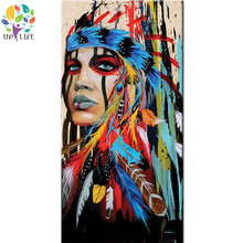 100 hand made american native idian figure oil painting The Indians girl warrior portrait canvas picture