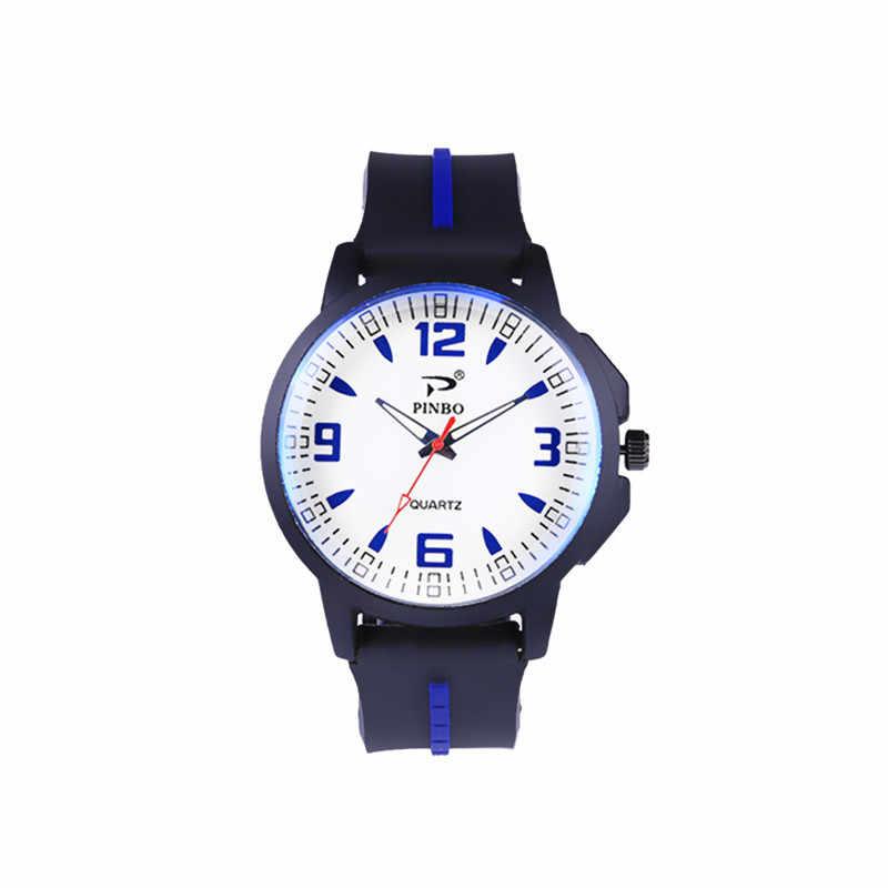2019 nuevo reloj de pulsera de silicona para hombre clásico minimalista Digital Reloj de pulsera de cuarzo analógico redondo para hombre Kol Saati # W