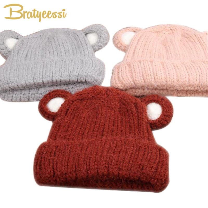 8a15aa6252dfc Cartoon Kids invierno sombreros con orejas Color sólido de punto casquillo  del bebé niños niñas Beanie para 2-5 años Multicolor 1 unid