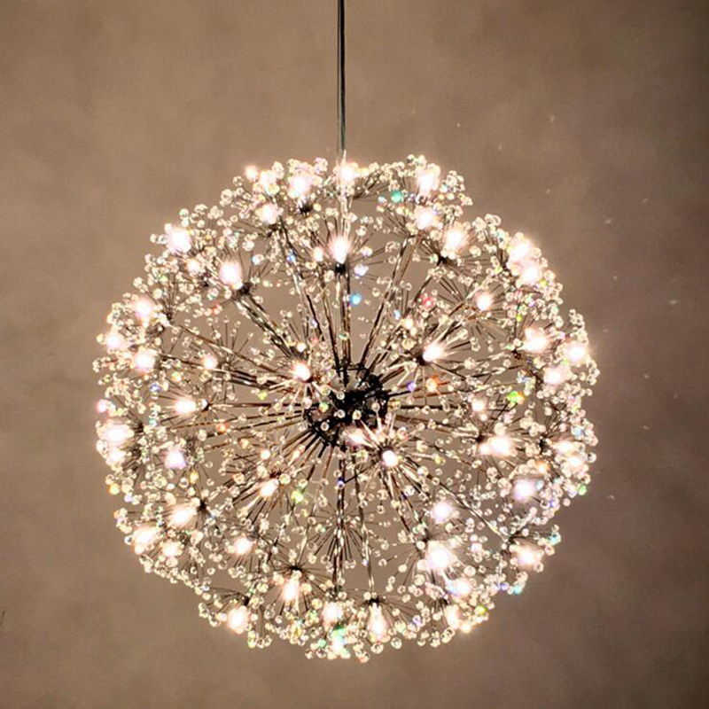 Nordic modern led lamp living room fixture round crystal clothing store dandelion creative art new restaurant bedroom chandelier nordic modern minimalist living room crystal restaurant chandelier crystal creative led art bar warm bedroom lamps led fixture