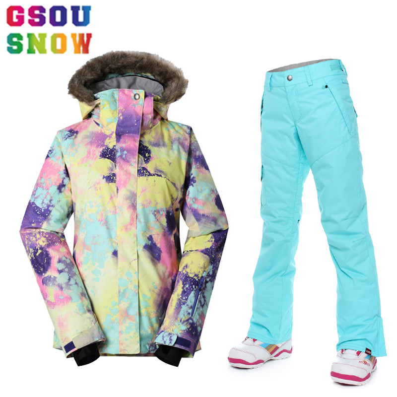 GSOU SNOW Brand Ski Suit Women Ski Jacket+Pants Waterproof Snowboard Jacket+Pants Winter Outdoor Skiing Snowboarding Sport Coat gsou snow ski jacket women snowboard jacket waterproof ski suit winter skiing snowboarding outdoor sports jacket gs419 001