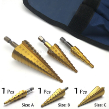 4-32mm 4-20mm 4-12mm Metric Hex Spiral Grooved Flute Step HSS Steel 4241 Cone Titanium Coated Drill Bits Tool Set Hole Cutter