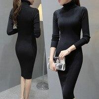 Women Winter Dress Turtleneck Long Sleeve Knitted Sweater Dress Slim Sexy Long Dress Casual Basic Dress