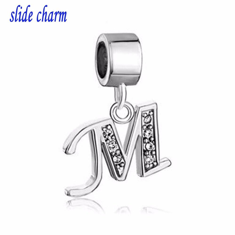 slide charm Free shipping Letter Bracelet Charms InitialWhite Crystal M Dangle Alphabet European Bead fit Pandora bracelet