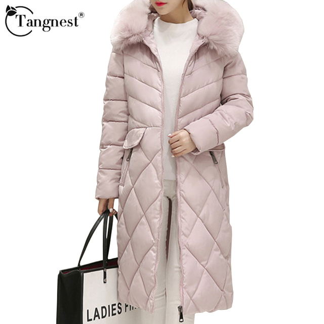 TANGNEST  Women Winter Coat 2016 Thick Faux Fur  Winter Fashion Causal Solid Hooded Cotton Blends Women Warm Jacket  WWM1511