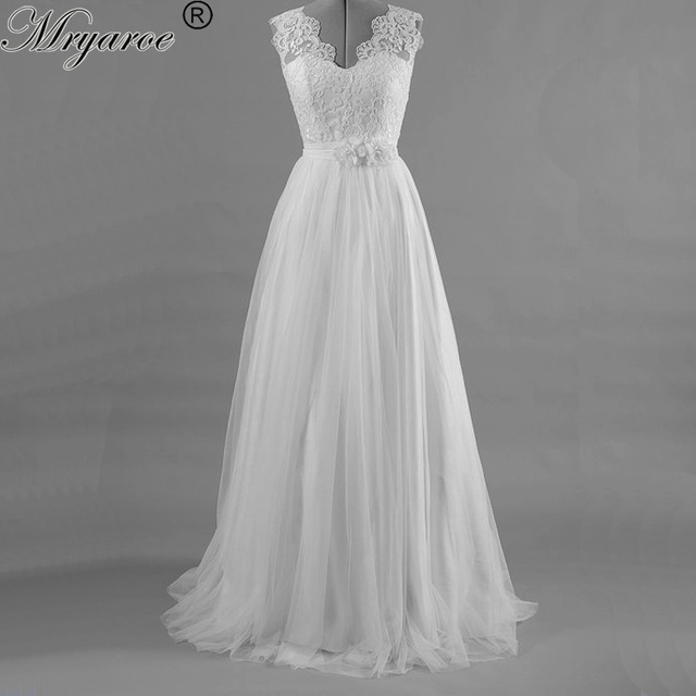Mryarce Tulle A Line Wedding Dress Sleeveless Double V Neck Lace Appliques Open  Back Bridal Gowns With Handmade Flowers f51d870b7242