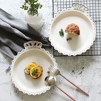 Nordic Cartoon Golden Border Crown Breakfast Plate Deep Dish Western Pasta Dish Food Shooting Props