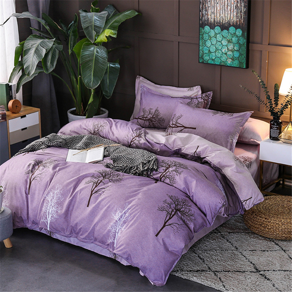 Plum Duvet Cover Us 29 4 40 Off Purple Duvet Cover Set Violet Tree Plant Graphic 4 Piece Bedding Set Flat Sheet Pillowcase Home Textie Twin Full Queen King Size In