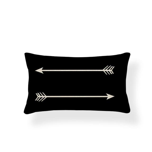 Rectangular Geometric Patterned Cushion Cover