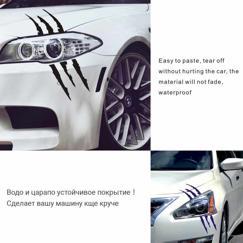 Stiker Mobil 40 Cm * 12 Cm Rakasa Awal Tanda Cakar Mobil Sepeda Motor Auto Dekorasi 3D Reflektif Membeli 2 Hemat setengah Kustom Stiker