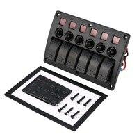 3 Pin 6 Gang Rocker Switch Panel Breakers Charger 12/24V Car Boat Marine Rocker Switch Panel Circuit Breaker Waterproof