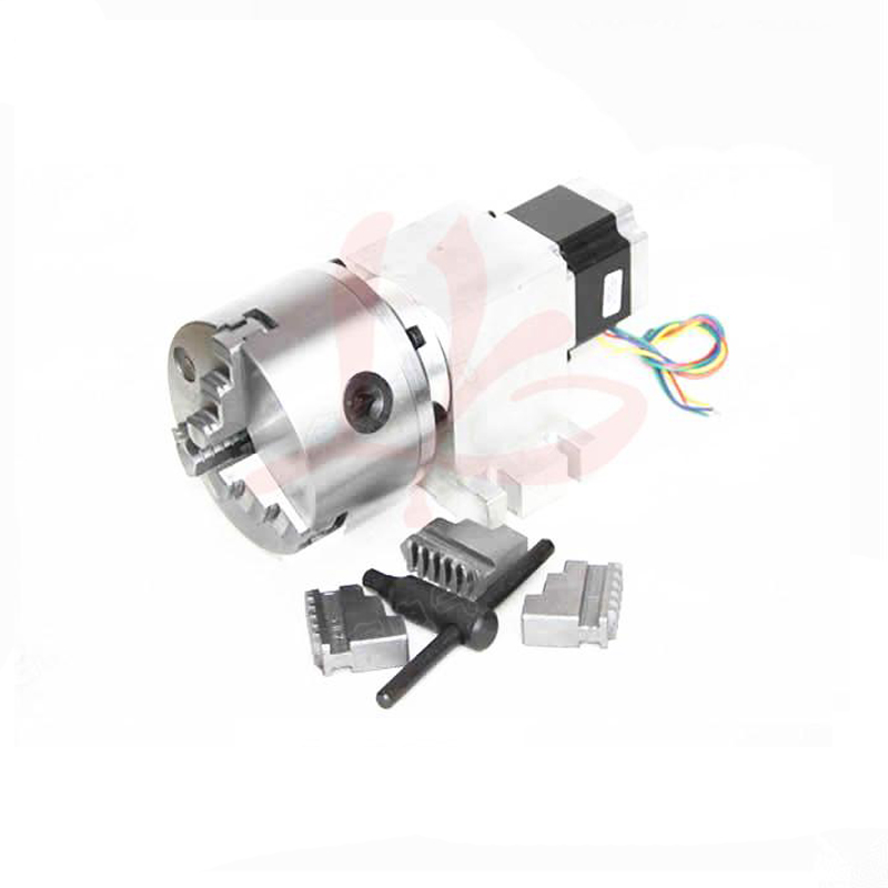 Rotary axis 14-100-100A 100mm 3 jaw chuck CNC 4th axis harmonic drive for mini CNC router