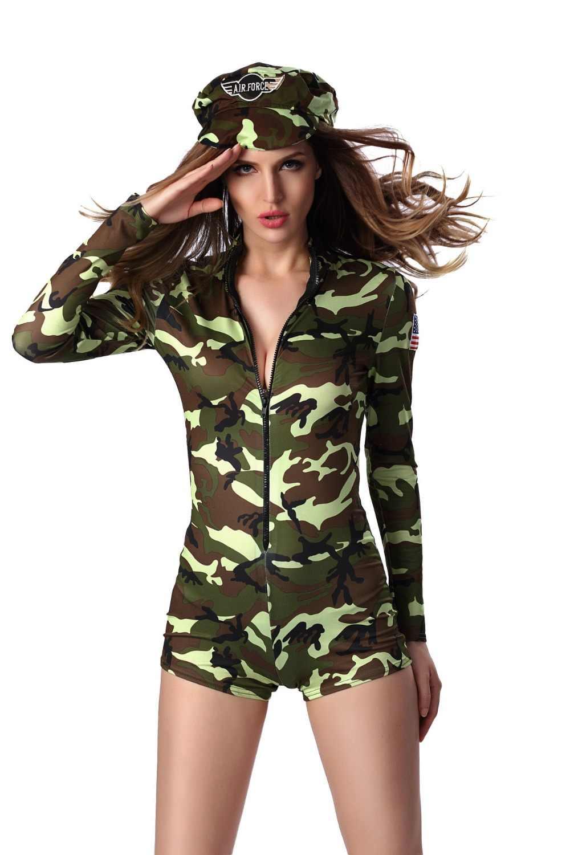 2018 Сексуальная взрослых Для женщин воин солдат костюм женский офицер армии камуфляж Цвет боди Костюмы для ролевых игр, вечеринок солдатский комбинезон
