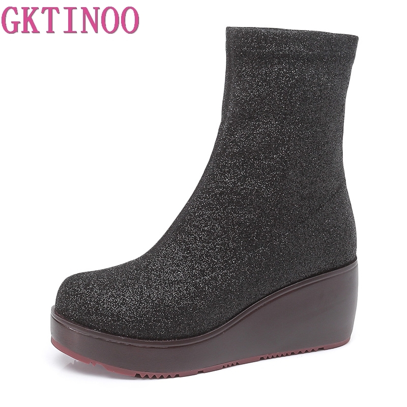 Women Flcok Boots Wedges Slip On Middle Tube Boots Casual Shoes Winter Boots ankle boots para mulheres sem saWomen Flcok Boots Wedges Slip On Middle Tube Boots Casual Shoes Winter Boots ankle boots para mulheres sem sa