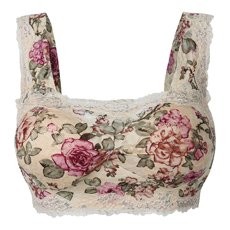 Fashion Women Lace Bras Floral Print Wireless Seamless Lingerie Sexy Underwear Comfort Brassiere Full Cup Vest Bras 8 Colors
