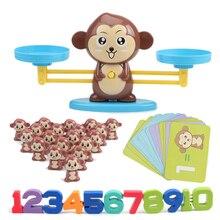 원숭이 디지털 밸런스 스케일 장난감 조기 학습 균형 아이 수학 경기 게임 보드 완구 추가 및 sub셈 수학 저울 완구