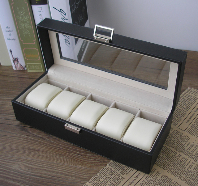5 slot wood structure PU leather watch storage box display case