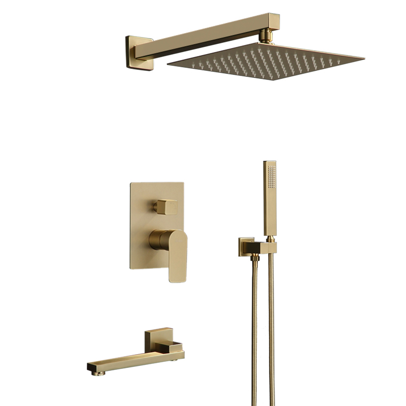 Bathroom Shower Set Brushed Gold Square Rainfall Shower Faucet Wall or Ceiling Wall Mounted Shower Mixer