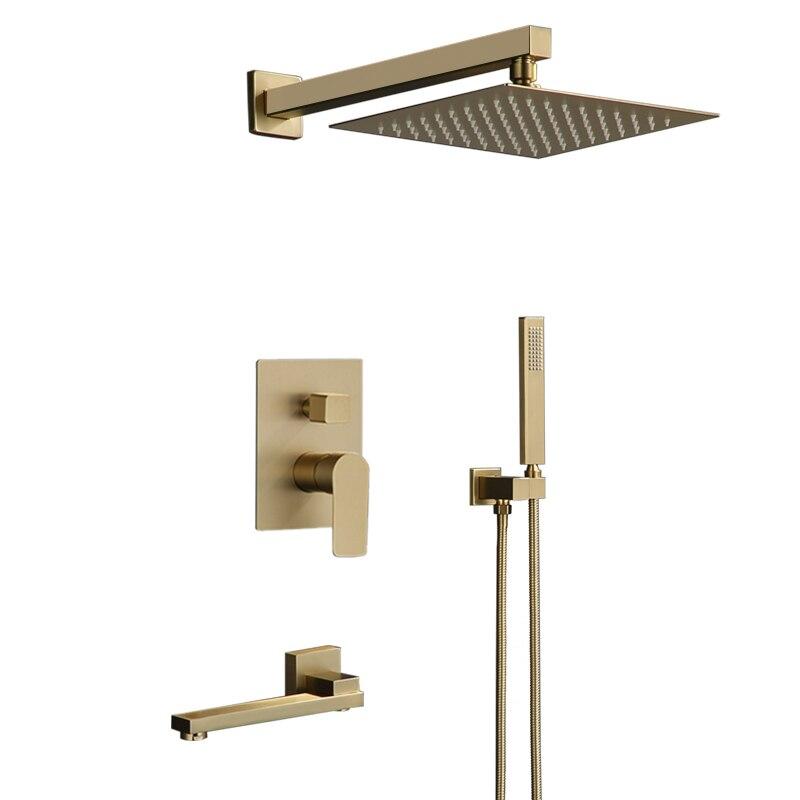 Набор для душа для ванной комнаты, Матовый Золотой квадратный смеситель для душа, настенные или Потолочные и Настенные смеситель для душа ...