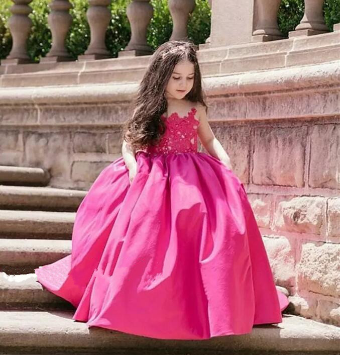 Red Ball Gown Flower Girls Dresses Applique Satin Plus Size Princess First Communion Mother And Daughter Gown Custom Made shoulder cut plus size flower blouse