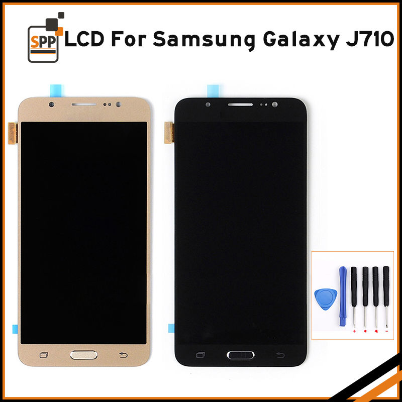 5.5 LCD touch screen for Samsung Galaxy J710 J710F SM-J710F 2016 LCD display digitizer assembly home button black white gold