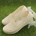 2017 Recorte sandálias de borracha plataforma de dança sapatos enfermeira branco cunhas sapatos para as mulheres do sexo feminino sandálias respirável sapatos tamanho 36-41