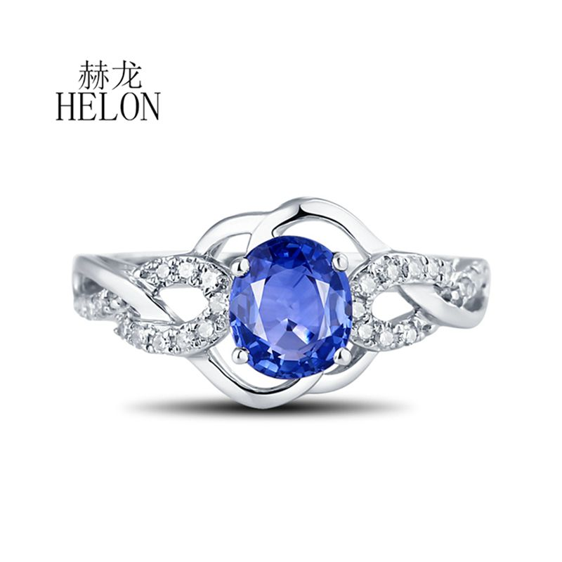 HELON 7x5mm Oval Cut Sapphire Pave Natural Diamond Solid 18K White Gold Gemstone Engagement Wedding Women's Jewelry Fine Ring au750 white gold ring diamond oval cut sapphire ring in 18k solid gold for sale wu261