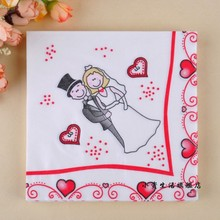 WN063 (3 packs=60pcs ) The bride and groom Party Color Napkin Paper 100% Virgin Wood Tissue for Party Decoration Paper Crafts цена и фото