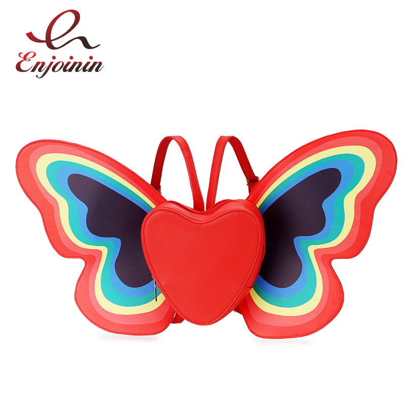 Cute Fashion Rainbow Butterfly Wings Heart Pattern Design Pu Leather Girl's Backpack Shoulder Bag Casual Women's School Backpack casual layered heart wings watch