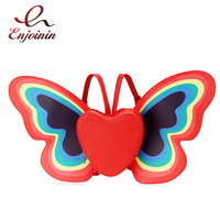 Cute Fashion Rainbow Butterfly Wings Heart Pattern Design Pu Leather Girl's Backpack Shoulder Bag Casual Women's School Backpack