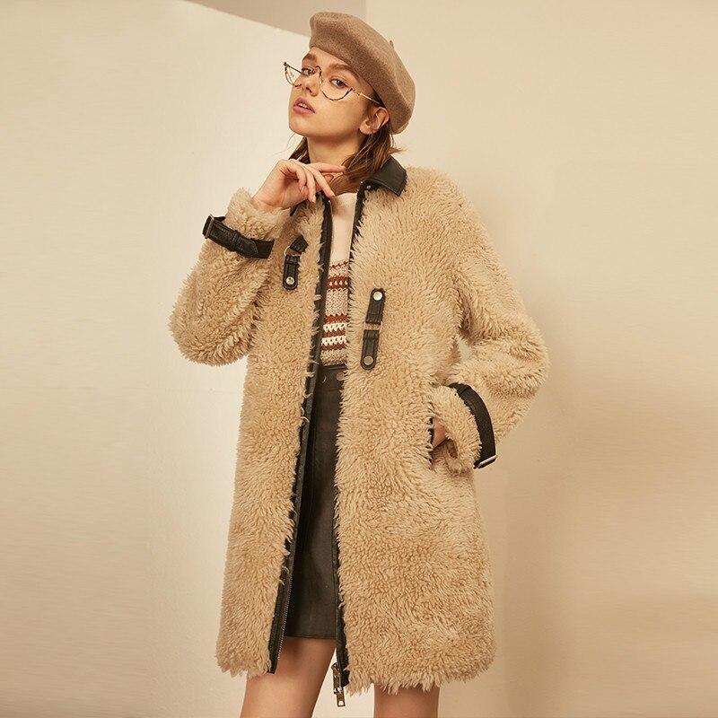 Mouton Manteau Coréen Fourrure Réel Beige Élégant Veste Hiver Automne Longs Peau De En Vêtements Zt898 Mujer Femmes Abrigo 2018 Laine Manteaux dtqwB