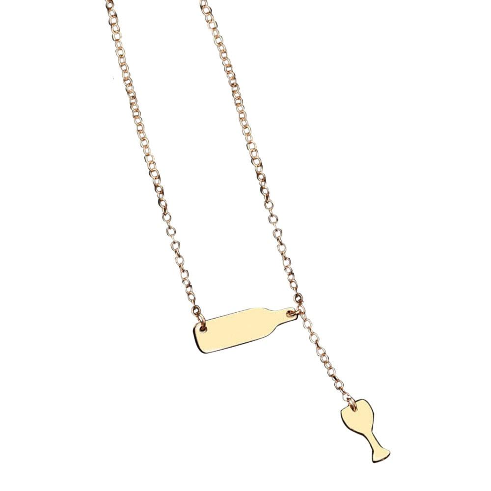 Fashion Wine Bottle Cup Long Pendant Necklace Statement Choker Chain Jewelry