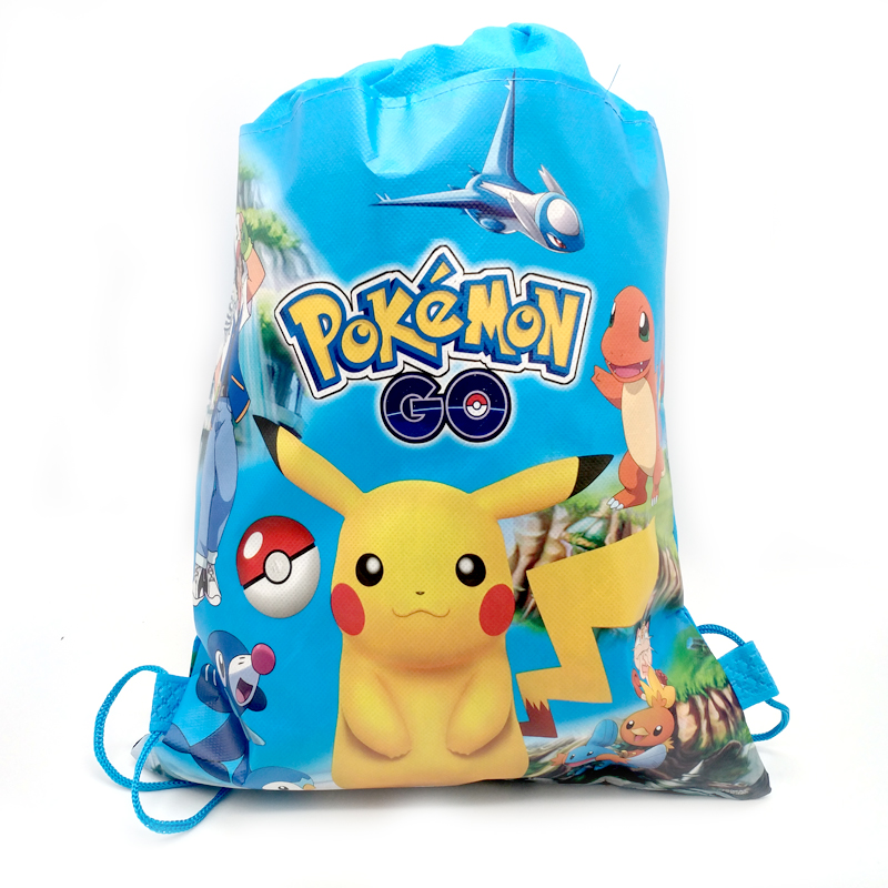 34*27cm Decorate Birthday Party Mochila Baby Shower Boys Favors Pokemon Backpack Pikachu Theme Blue Drawstring Gifts Bags 1PCS