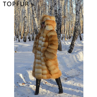 TOPFUR Top Quality Real Fur Coat Women Natural Russia Gold Fox Fur Jacket New Luxury Thick Warm Real Fur Jacket With Fur Hood