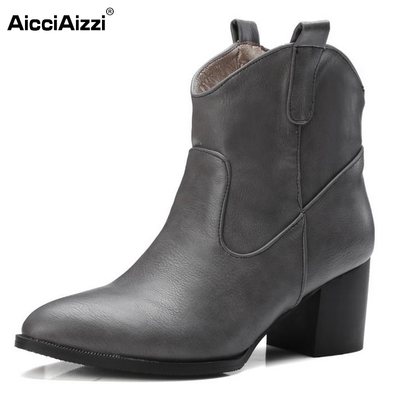 Women Pointed Toe Ankle Boots Woman Fashion Vintage Square Heel Botas Female Autumn Winter Heels Shoes Footwear Size 32-48 fashion hot sale genuine leather low heels pointed toe rivets buckle square heel autumn winter women ankle boots