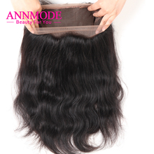 Annmode Peruvian Body Wave 360 Lace Frontal Closure Free Part 22.5*4*2 With Baby Hair Non-Remy Human Hair Bundles