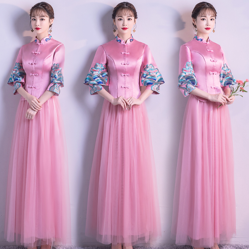 Robe de mariée de demoiselle d'honneur de Style chinois Vintage femme bouton fait main Qipao élégant col Mandarin Long Cheongsam Vestidos