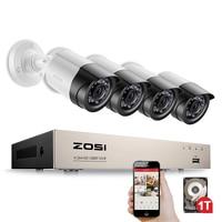 ZOSI Security Camera System 4ch CCTV System DVR Security System 4CH 1TB 4 X 1080P Security