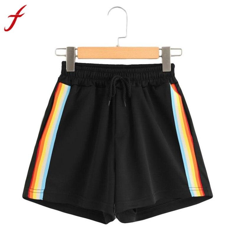 short femme ete 2018 ladies fashion striped mid waist. Black Bedroom Furniture Sets. Home Design Ideas