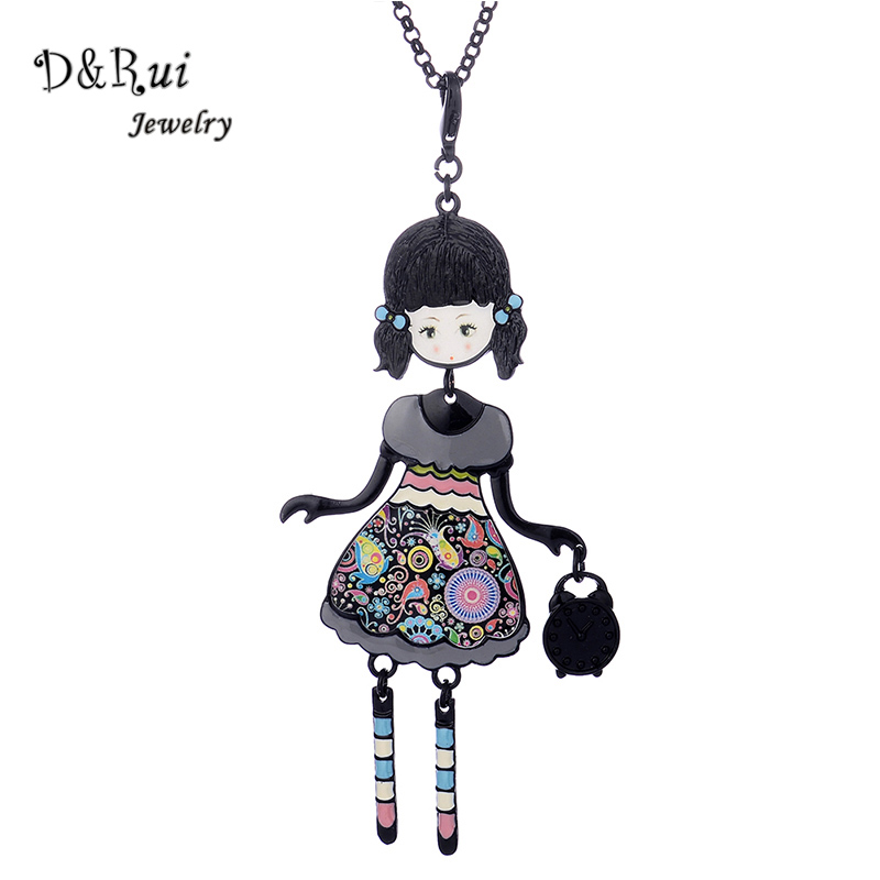 2017 New Doll Pendant Necklace Girl Wear Beautiful Dress ...